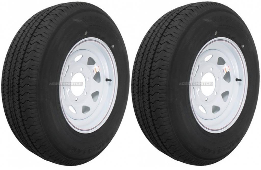 eCustomRim Two Trailer Tires On Rims ST225/75D15 H78-15 225/75-15 D 6 Lug White Spoke