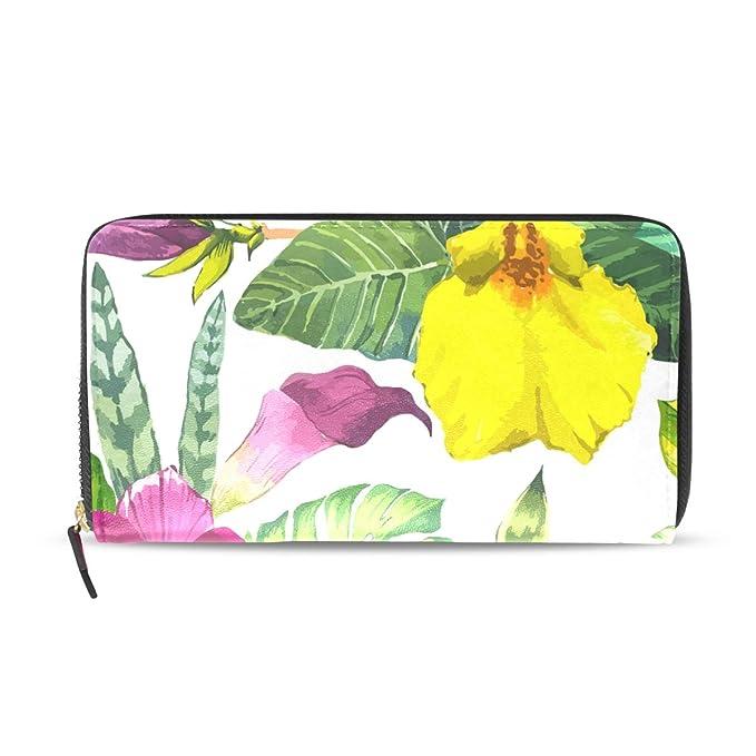 6e2d7886df22 Tropical Flower Genuine Leather Wallet Case Credit Card Holder ...