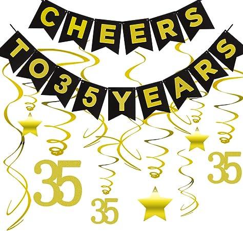 35th Birthday Decoration Cheers to 35 Years Banner 35th Anniversary Banner 35th Wedding Anniversary Party Decor 35th Birthday Banner