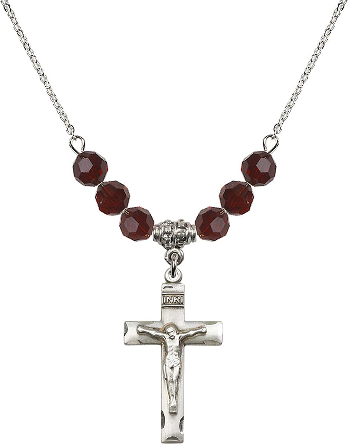 Bonyak Jewelry 18 Inch Rhodium Plated Necklace w// 6mm Red January Birth Month Stone Beads and Crucifix Charm