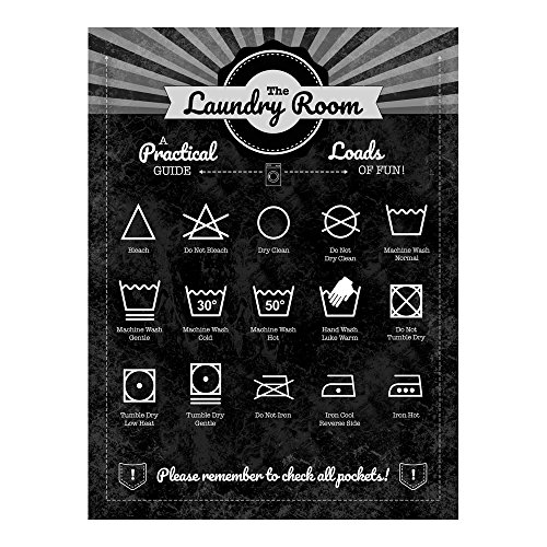 The Laundry Room Metal Sign Guide to Fabric Care Tag Instructions for Decorating Home and Business
