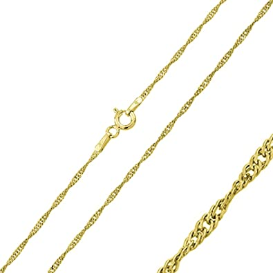 7d77375eeab91 1mm Sterling Silver Italian Chain Necklace 14K Gold Plated Singapore Chain  ( 16 quot