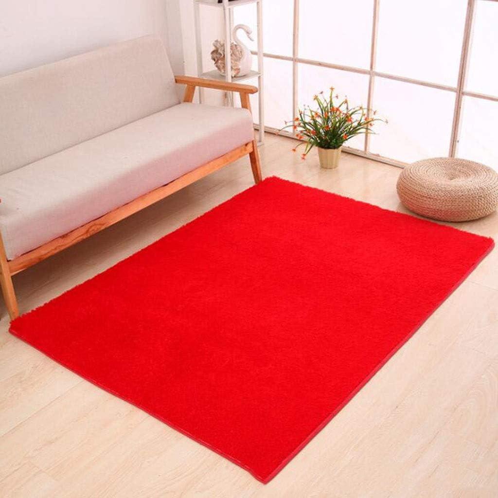 CarPet Thicken Foyer Bedroom Living Room Bedside Silk Door Mat Anti-Slip Mat Color : Red, Size : 140200cm