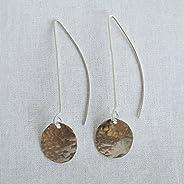 """Bebe - Sterling Silver Long Drop Geometric Earrings - 2"""""""