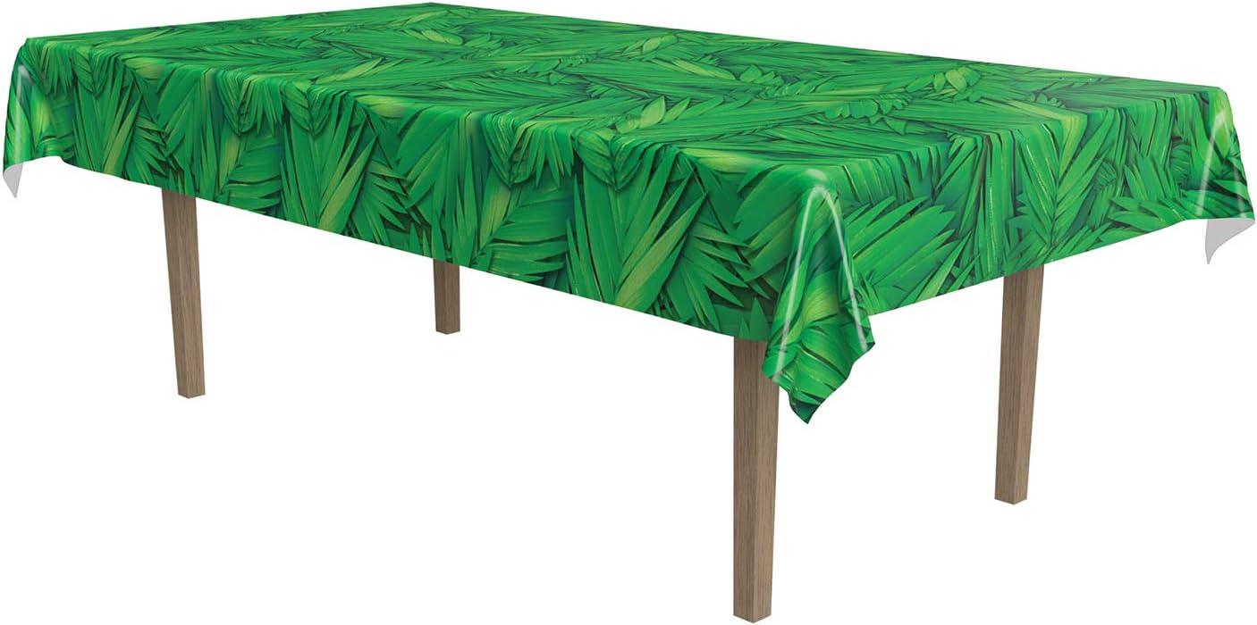 Amazon Com Beistle Print Tablecover Plastic Disposable Rectangular Tropical Palm Leaf Table Cover Hawaiian Luau Party Supplies Jungle Safari Tableware 54 X 108 Green Black Kitchen Dining