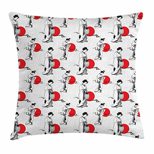 Costume Old Lady Baby On Back (Japan Throw Pillow Cushion Cover by Lunarable, Cultural Pattern with Geisha Woman in Kimono Costume on Abstract Wavy Backdrop, Decorative Square Accent Pillow Case, 18 X 18 Inches, Orange White)