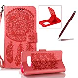 Strap Pu Leather Case for Samsung Galaxy Note 8,Wallet Flip Cover for Samsung Galaxy Note 8,Herzzer Classic Elegant Book Style [Red Wind Chime] Embossed Slim Fit Stand Leather Folio Pouch Protective Mobile Cellphone Case for Samsung Galaxy Note 8