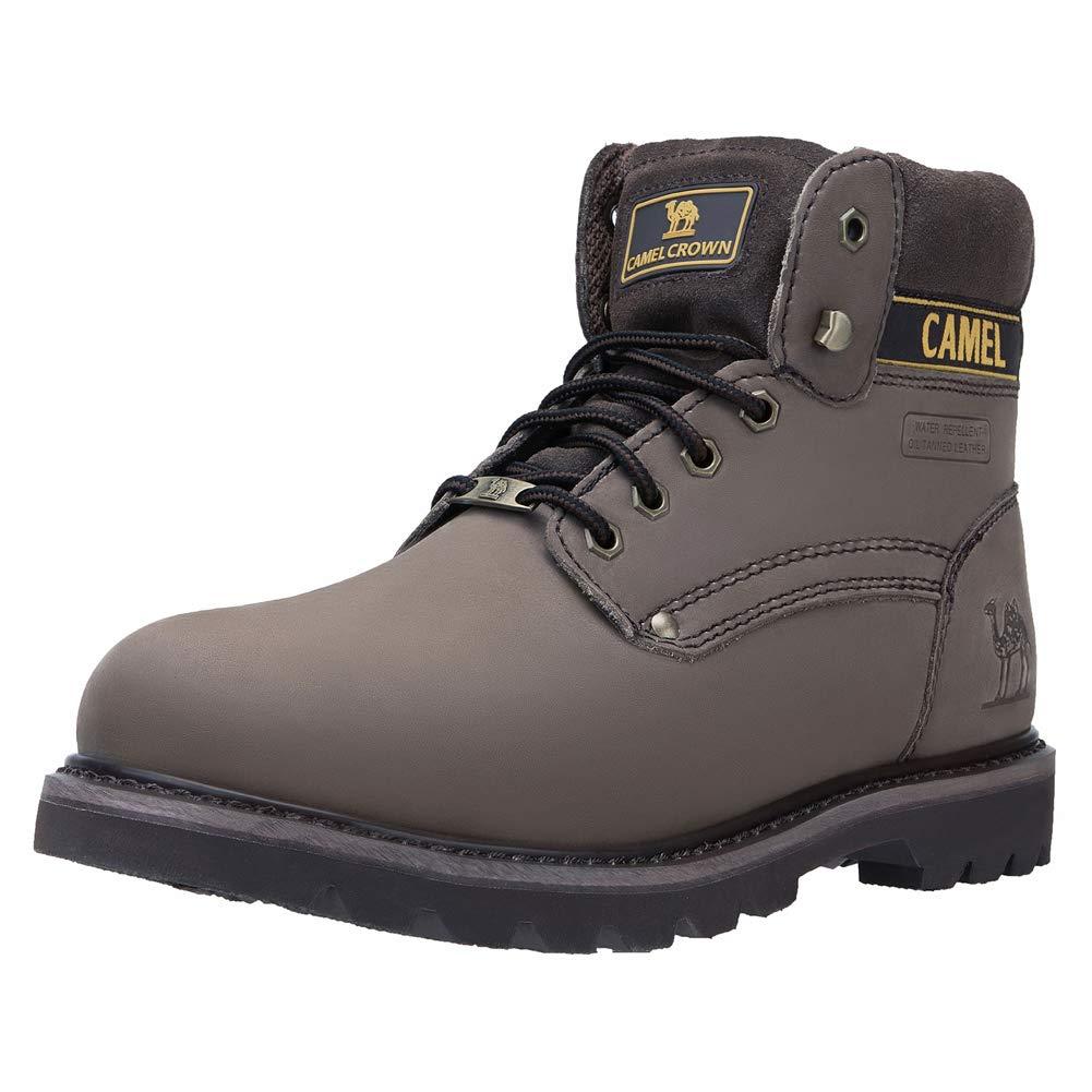 da5541f86f15c CAMEL CROWN Casual Botas de Cuero Botas Track de Tobillo Bajo Trabajando  Botines Zapatos No-Seguridad de Otoño Invierno para Hombres Mujeres Café  Negro ...