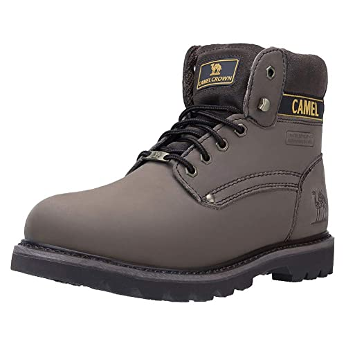 c11f0e9dc9eff CAMEL CROWN Casual Botas de Cuero Botas Track de Tobillo Bajo Trabajando  Botines Zapatos No-Seguridad de Otoño Invierno para Hombres Mujeres Café  Negro ...