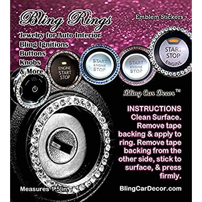 Bling Car Decor Blue Crystal Rhinestone Car Bling Ring Emblem Sticker, Bling Car Accessories, Push to Start Button, Key Ignition & Knob Bling Ring, Car Glam Interior Accessory, Women Gift (Blue): Automotive