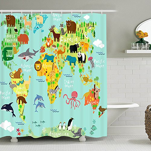 Bathroom Shower Curtain World Map Shower Curtains with Local Animals Plants Design, Waterproof Durable Fabric Bath Curtain for Bathroom Decoration with 12 Hooks