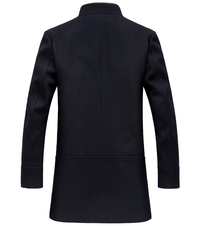SK Studio Mens Trench Coat Autumn Winter Long Jacket Overcoat
