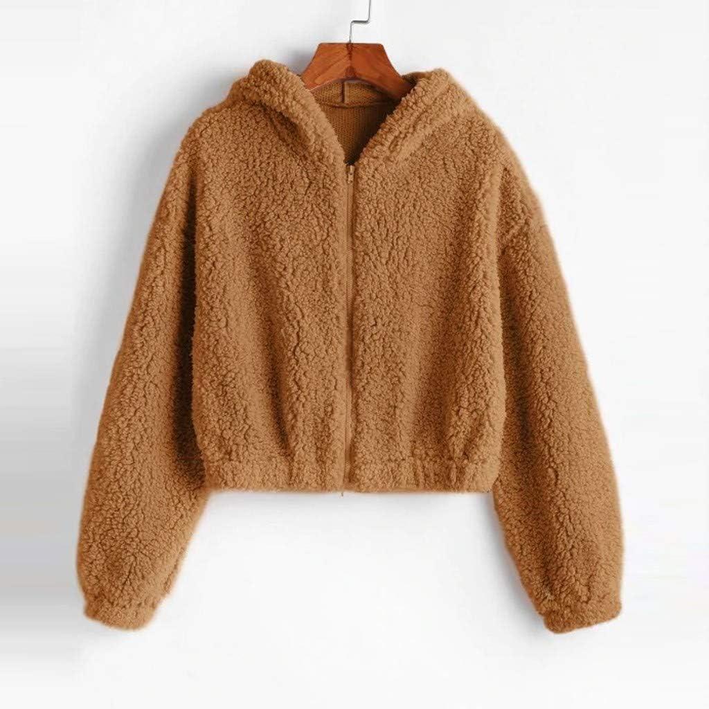 Samojoy Women Teen Girls Crop Top Teddy Jacket Coat Warm Fleece Sherpa Zipper Plush Hoodie Sweatshirt Winter Outwear Top