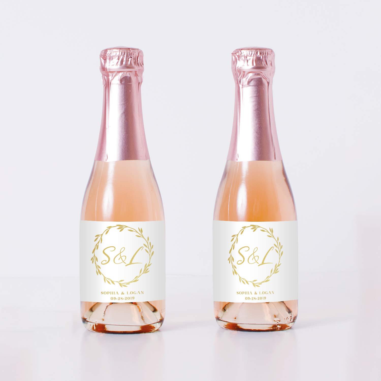 Golden Wreath Wedding Mini Champagne Bottle Labels