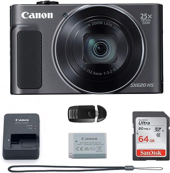 Canon PowerShot SX620 Digital Camera w/25x Optical Zoom - Wi-Fi & NFC Enabled (Black) - Memory Card Bundle (Camera + 64GB Memory Card) Basic Bundle