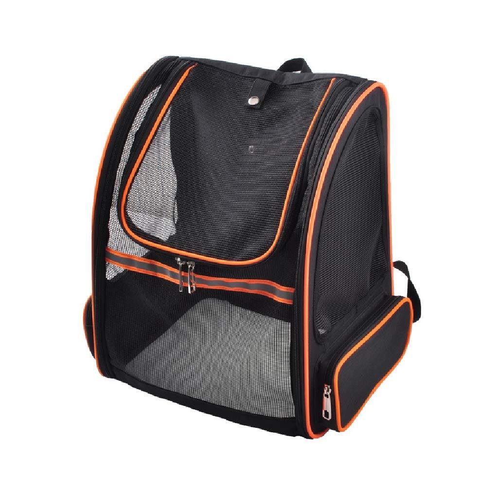 orange ZHOUYANCSummer full mesh pet bag Breathable pet backpack out portable cat bag