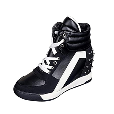 cf2d396fec3 Women Casual Sneakers Shoes Ladies Hidden Wedge Heel Platform Sneakers Lace  Up Exercise Shoes (Black