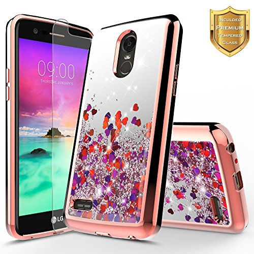 LG Stylo 3 Case, LG Stylo 3 Plus Case w/[Tempered Glass Screen Protector], NageBee Glitter Liquid Quicksand Waterfall Floating Flowing Sparkle Shiny Bling Clear Girls Cute Case -Electroplate Rose Gold