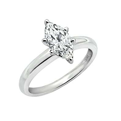 9ab863166e9ee Platinum Plated Sterling Silver Swarovski Zirconia Marquise ...