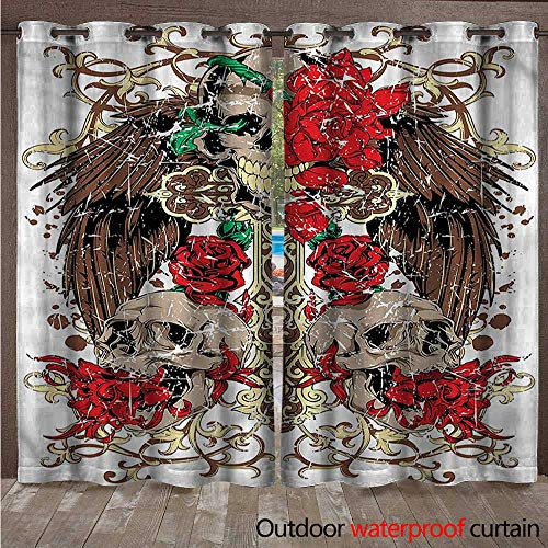 cobeDecor Tattoo Outdoor Ultraviolet Protective Curtains Mexican Sugar Skull Design W108 x L84(274cm x 214cm)