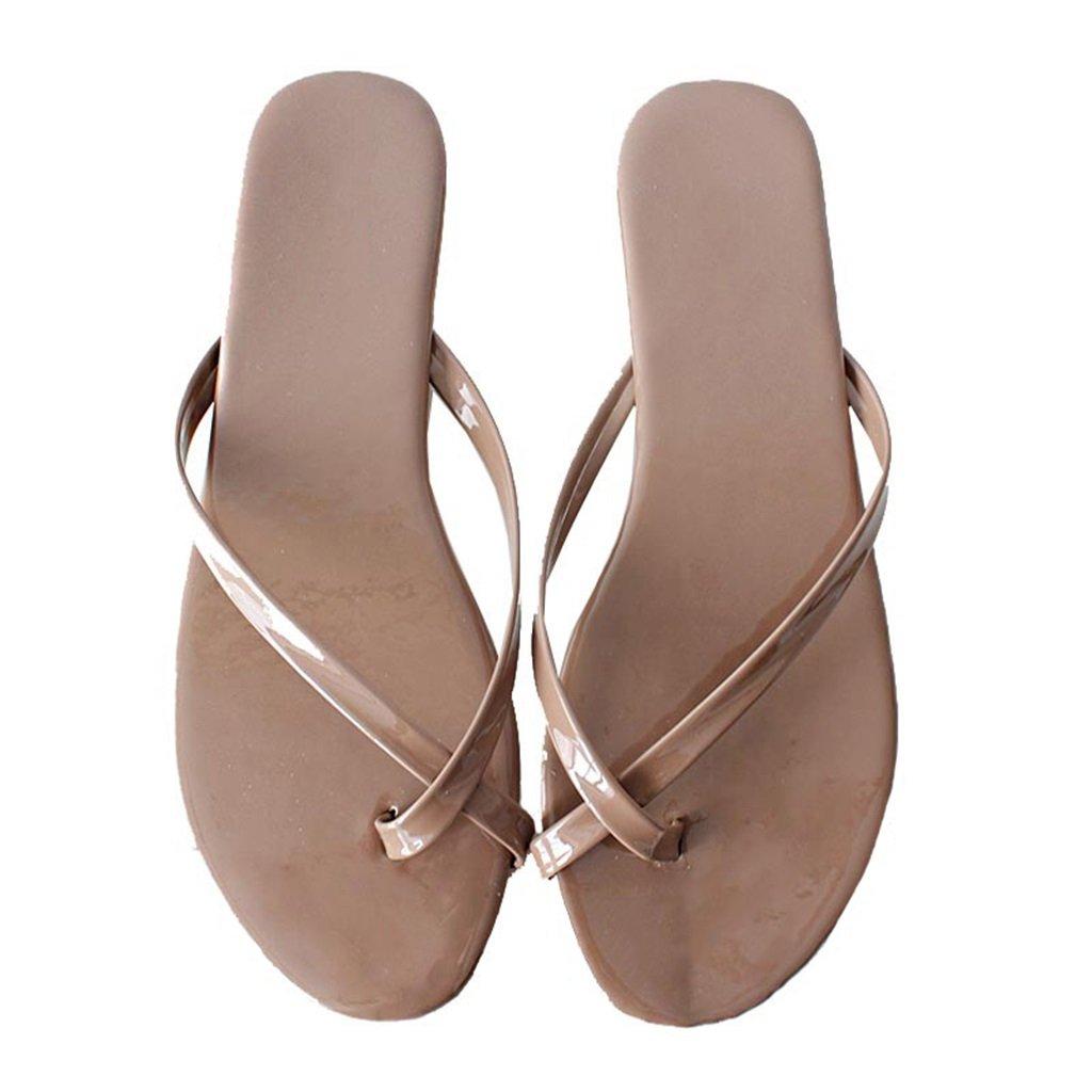 Sandalias Slip-on De Chanclas para Mujer Zapatillas Deportivas Sandalias De Dedo con Tacón Plano Sandalias En Verano para Zapatos De Playa PU Oxford (Color : Albaricoque, Tamaño : EU 39/US 7.5)