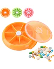 Yosoo Portable Rotating Pill Box 7 Day Medicine Vitamins Container Storage Dispenser, Cute Fruit Style