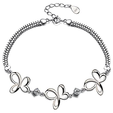Viyino Women's Heart and Star and Flower Beaded Charm S925 Sterling Silver Cubic Zirconia Bracelet 4hJxdfD2