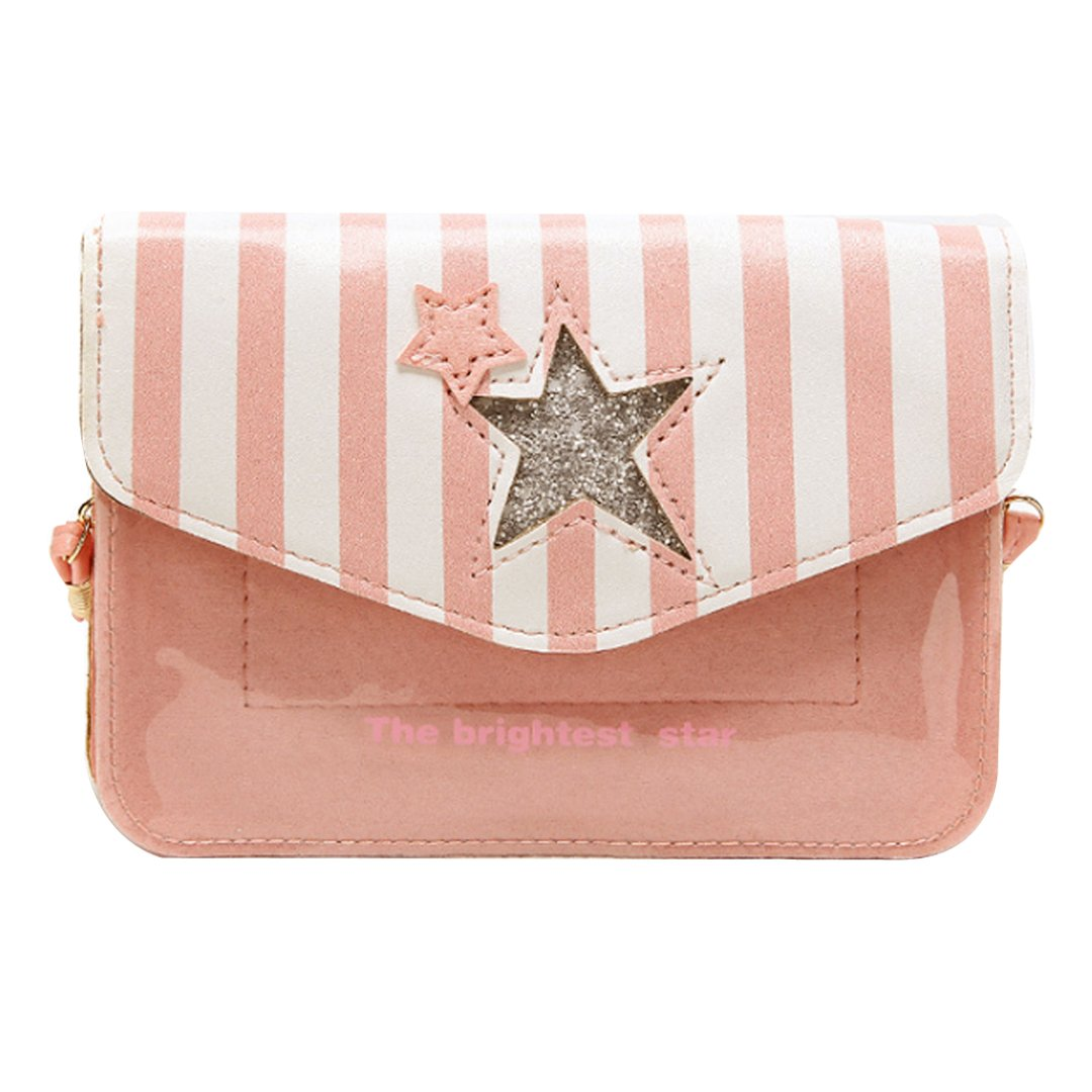 Millya Girls Cute Star Stripe Pattern Coin Purse Cross Body Bag Sparkling Shoulder Bag(Pink) bb-01644-02C