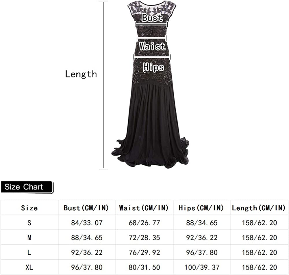 1920s Retro Femme Robe Flapper Costume Gatsby Femme Robe Paillette Perlé Floral V-Dos Longue de Plancher Soirée Robe De Bal Cap Manche Black