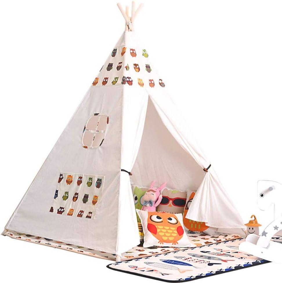 おもちゃのテント 子供のテントのおもちゃ通気性の綿のテント折りたたみ子供屋内と屋外のおもちゃは家のおもちゃ4ウッド茎ホームデコレーションを再生します (色 : C, Size : 120x120x156cm)