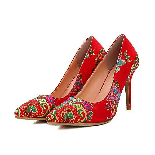 Zapatos de boda de tacón alto de señora/Chino fino con zapatos bordados étnicos/