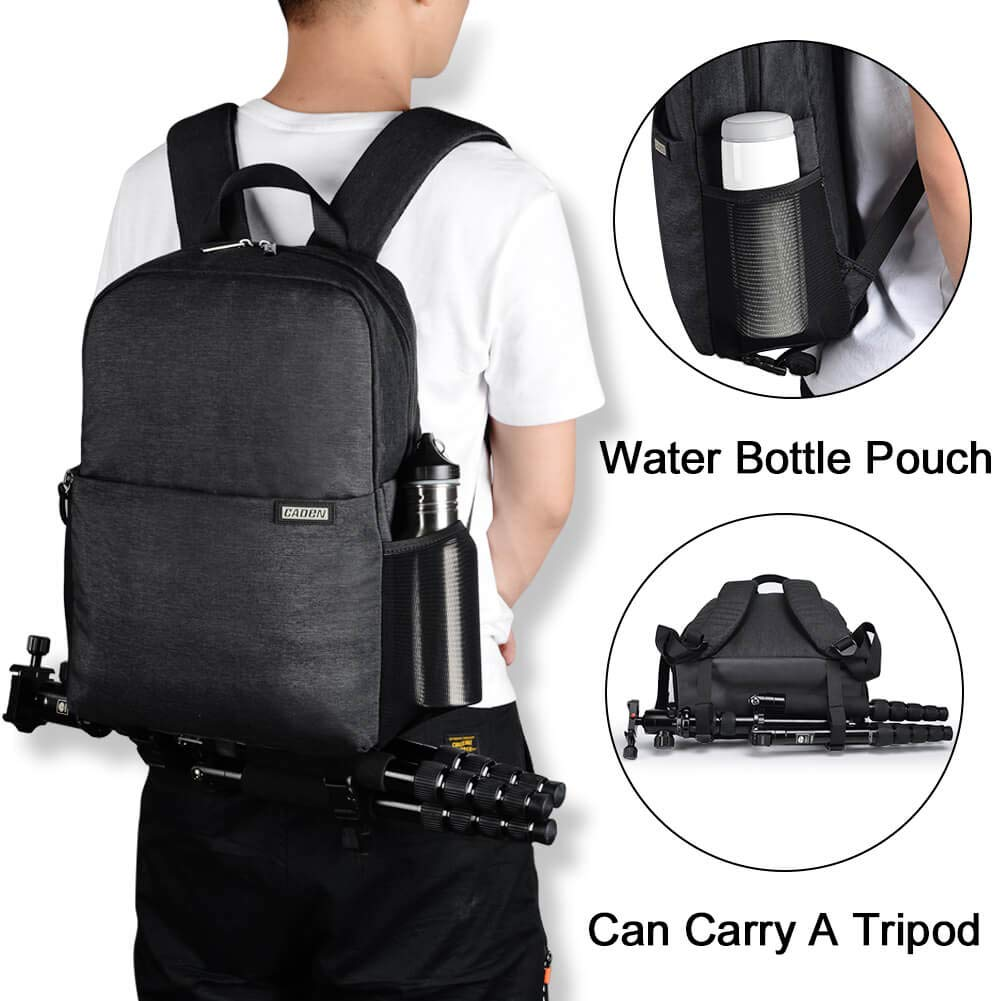 Mirrorless Cameras Canon Nikon Sony Pentax Lens etc CADEN DSLR Camera Backpack Bag with Laptop Compartment 14 Camera Case Backpack Waterproof with Side Access and Tripod Holder for Photographers