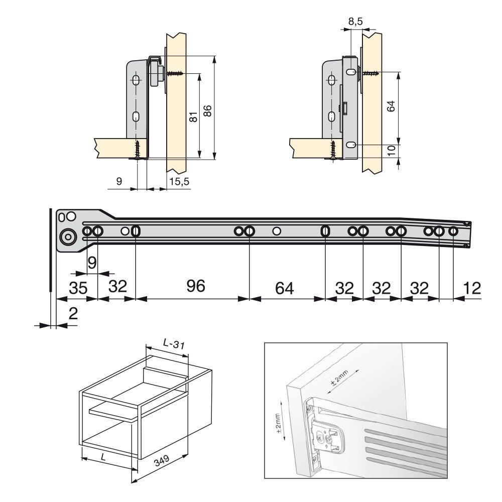 270mm Emuca 3053725 Kits de Caj/ón H86 Gris Metalizado