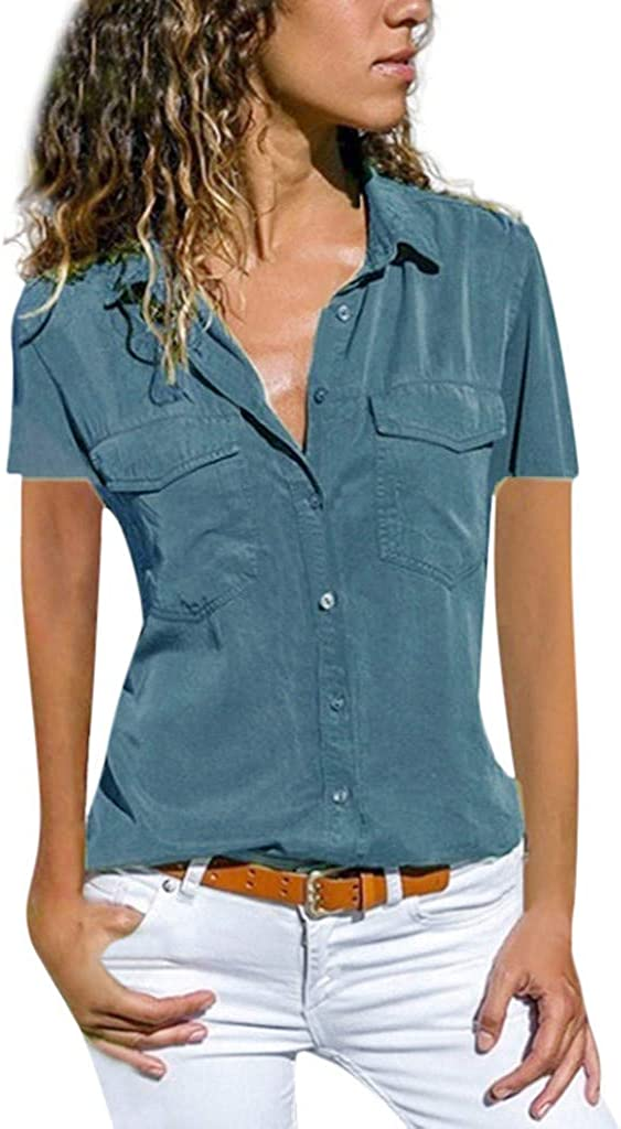 Hotkey Womens Short Sleeve Blouses Fashion Womens Casual Skew Neck Button Short Sleeve Tops Solid T-Shirt