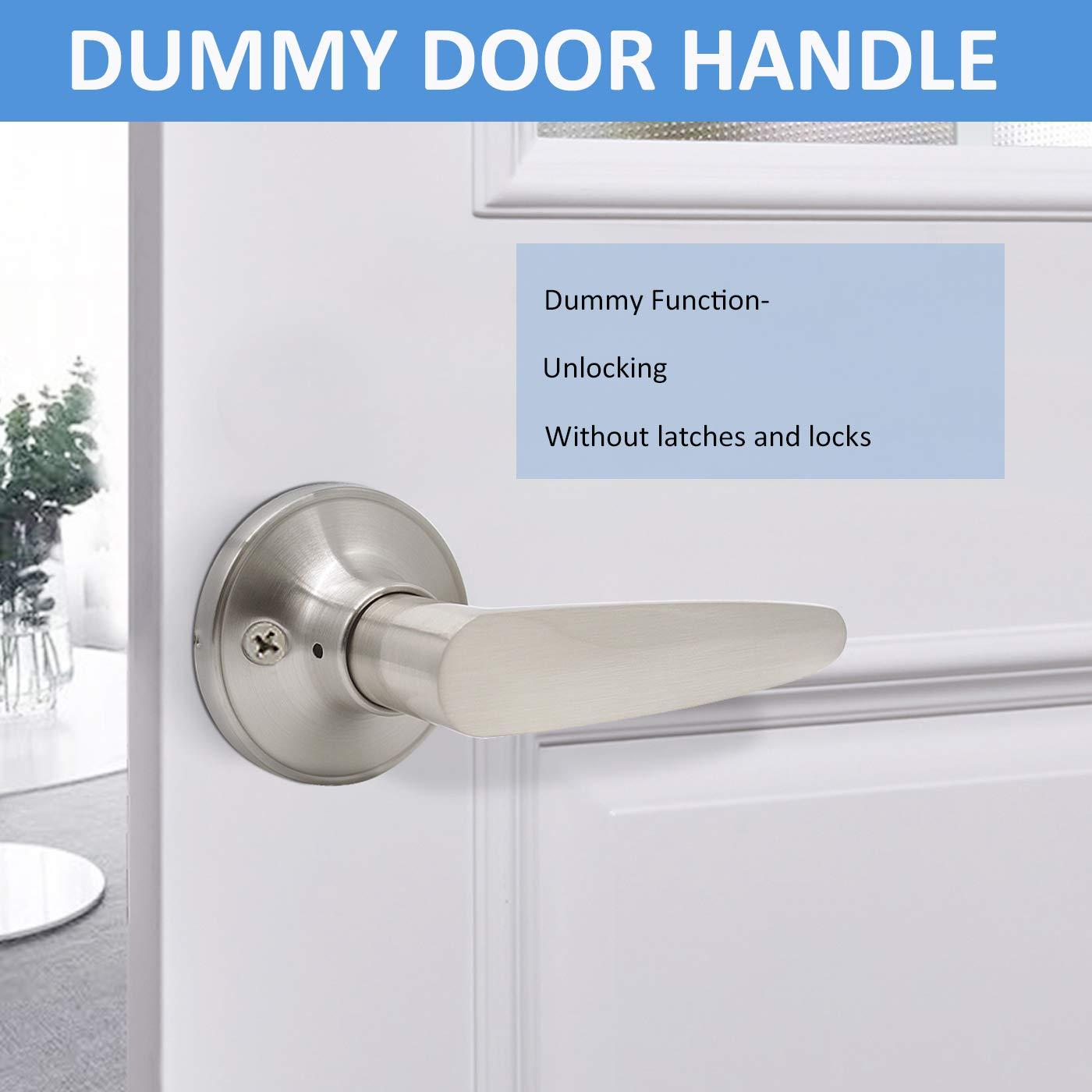Bedroom Bathromm Door Levers Privacy Universal Door Handles Interior Brushed Nickel Finish-Keyless Leverset-1 Pack