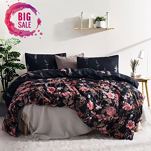 Leadtimes Queen Bedding Sets Cute Black Flower Duvet Cover Set with 2 Pillowcases and 1 Duvet Cover (Queen, Style8)