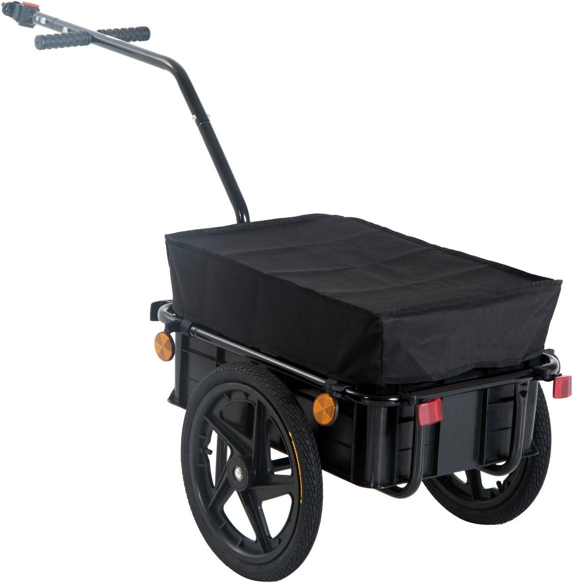 HOMCOM Remolque de Bicicleta para Carga 40kg Equipaje Reflectores y Asas Negro