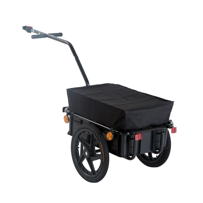 HOMCOM Remolque de Bicicleta para Carga 40kg Equipaje Reflectores y Asas Negro product image