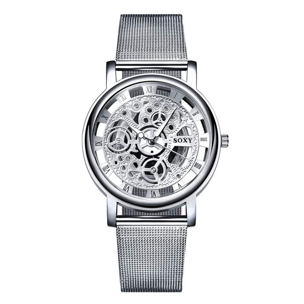 Relojes Hombre con Patrón de Engranaje Retro Calado, Escala de Números Romanos Relojes de Pulsera Casual de Cuarzo
