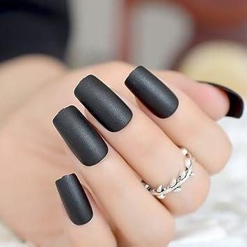 Echiq Classic Noir mat ongles carré Top givré Faux Faux ongles complète  Coque de Réactivité artificielle