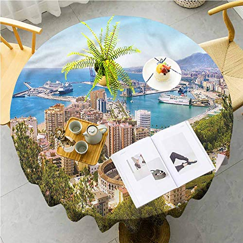 ScottDecor Fabric Tablecloth Landscape,Aerial View of Malaga Patio for Dining Room Kitchen Decoration Round Tablecloth Diameter 50
