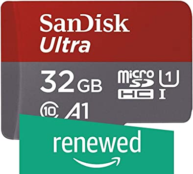 SanDisk Ultra 32GB microSDHC UHS-I card with Adapter - 98MB/s U1 A1 - SDSQUAR-032G-GN6MA (Renewed)