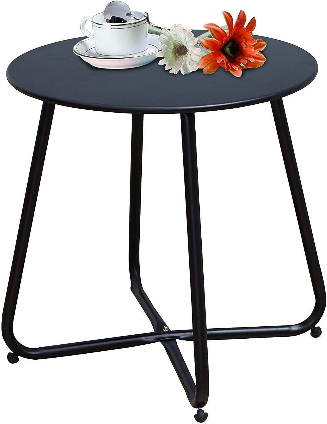 INOVIX Grand Premium Indoor Outdoor Round Metal Weather-Resistant Side Accent Table for Patio, Yard, Balcony, Garden, Pink
