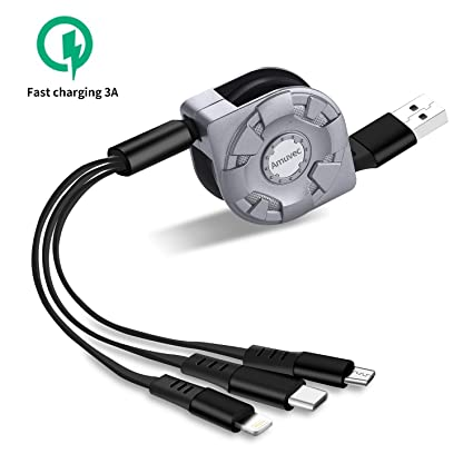 Amazon.com: Amuvec Multi 3 en 1 Cable de carga retráctil 3 A ...