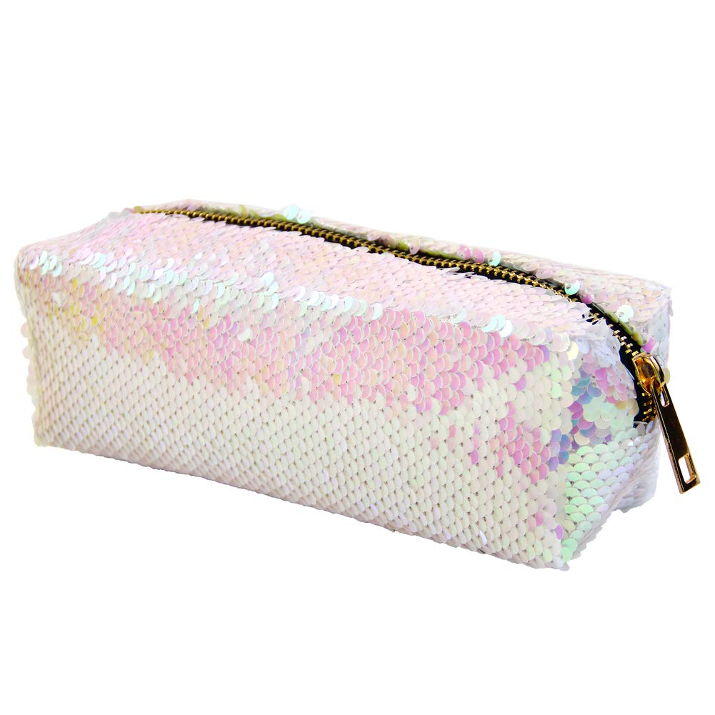 MHJY Mermaid Sequin Pencil Case Cosmetic Bag Magic Reversible Sequins Makeup Bag Pencil Pouch Glitter Handbag
