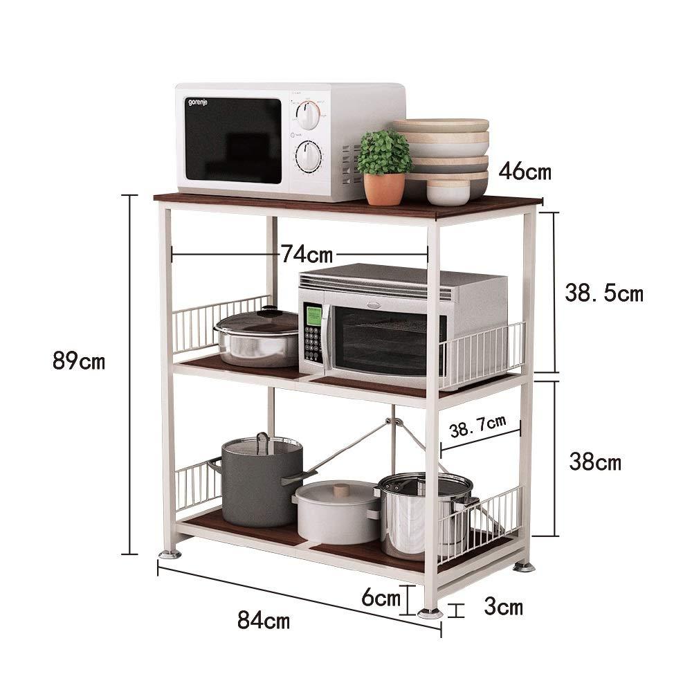 Kitchen shelf HUO Piso De Rack De Cocina De Microondas Rack De Almacenamiento De Almacenamiento De 3 Capas by Kitchen shelf (Image #2)