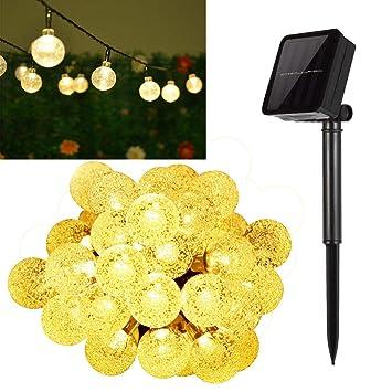 Solar String Lightshann 20ft 30 Leds Crystal Ball Waterproof Outdoor String Lights Solar Powered Globe Fairy String Lights