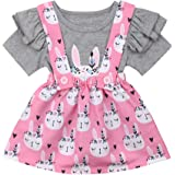 Easter Day-Toddler Baby Girls Clothes Set Ruffle Short Sleeve T-Shirt Tops Floral Overall Skirt