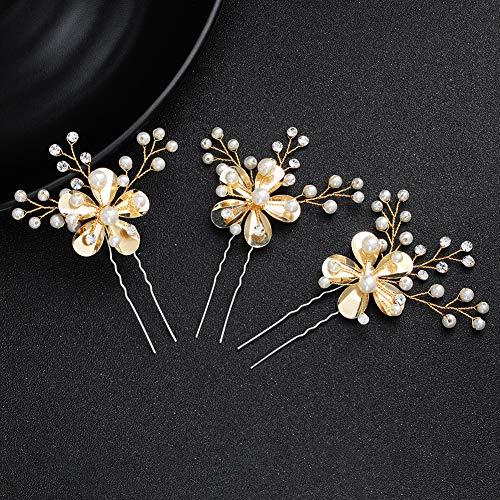 bromrefulgenc Elegant Pretty Hairpin,Floral Rhinestone Faux Pearl Inlaid Hair Stick Hairpin Bridal Headdress Jewelry - Golden