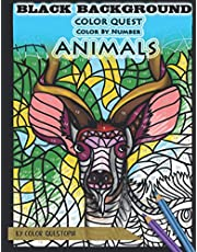 Color Quest Color by Number Animals BLACK BACKGROUND: Advanced Mosaic Jumbo Coloring Book For Adults and Teens